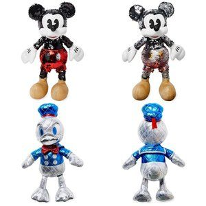 Mickey Mouse Sequin & Donald Duck 85th Plush NWT